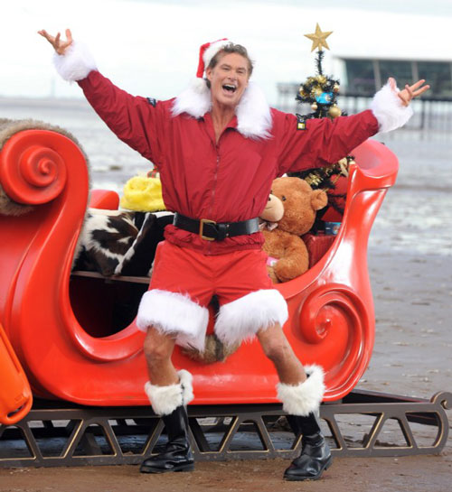 David Hasselhoff dressed as Santa Claus.