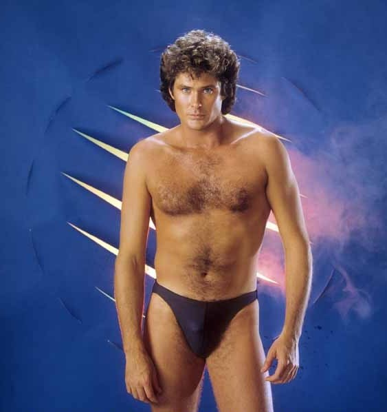 David Hasselhoff in blue underwear