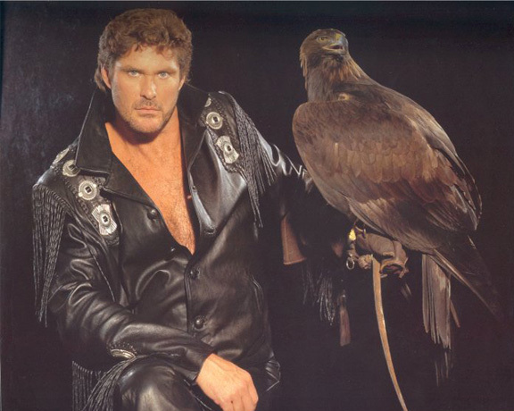 David Hasselhoff with an eagle.