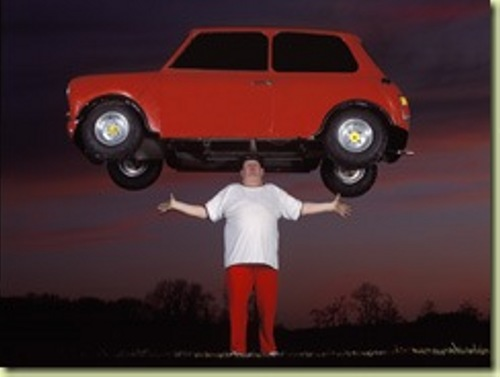 Crazy world records. Heaviest Car Balanced on Head