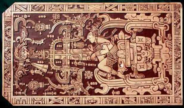 Carved drawings on the Sarcophagus lid of Pakal The Great