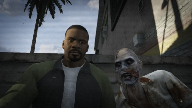 Franklin taking a selfie with a zombie on GTA V.