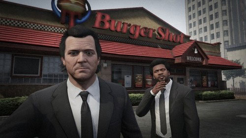 Michael and Franklin taking a Pulp Fiction selfie on GTA V.
