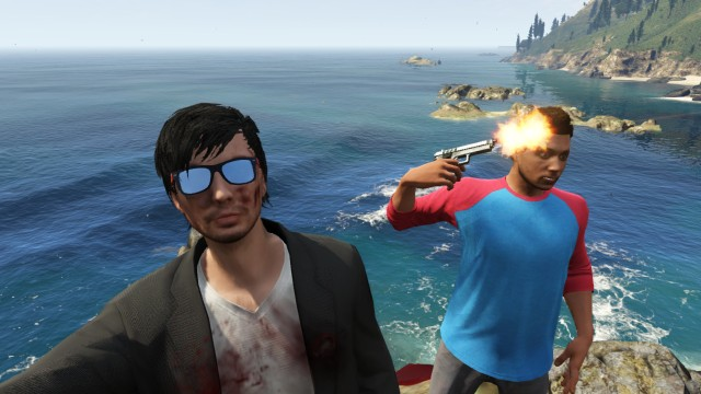 Man taking a selfie as his friend shoots himself on GTA V.