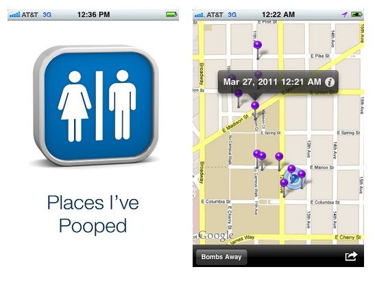Places I've pooped is a weird app