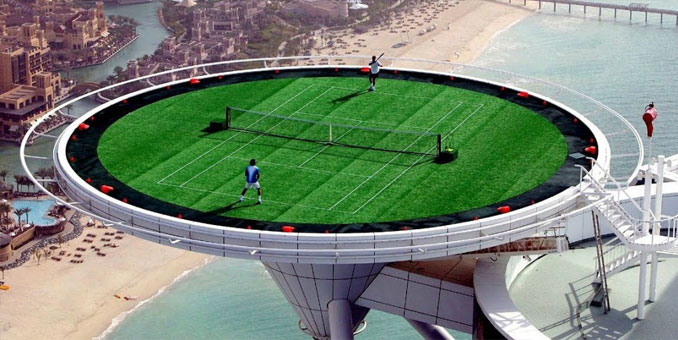 Burj Al Arab helipad tennis court - 10 photos you won't believe weren't photoshopped.