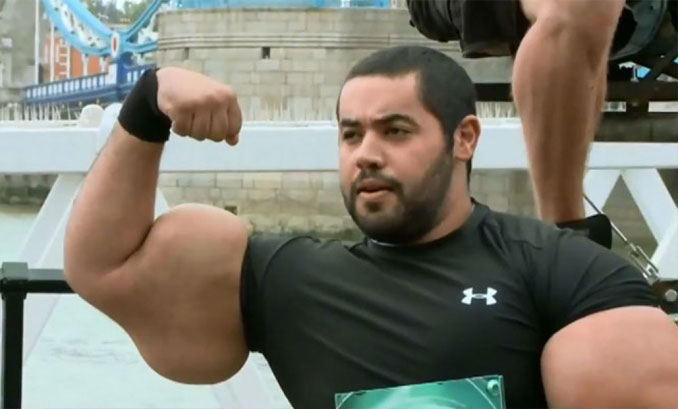 Moustafa Ismail man with biggest arms in the world - 10 real people you have to see to believe.