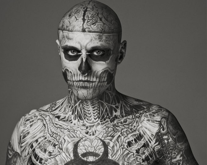 Zombie Boy Rick Genest with full body skeleton tattoo - 10 Most Insane Body Modifications You Just Have To See