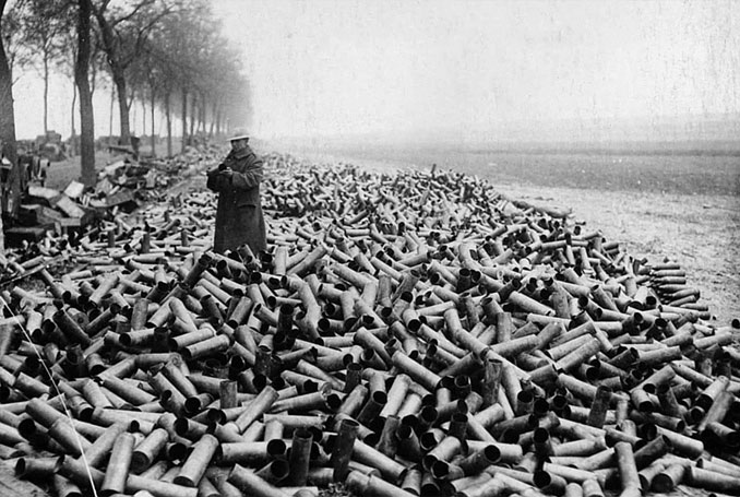 A photo of spent artillery shells during World War 1 - 10 Rare Photos From History