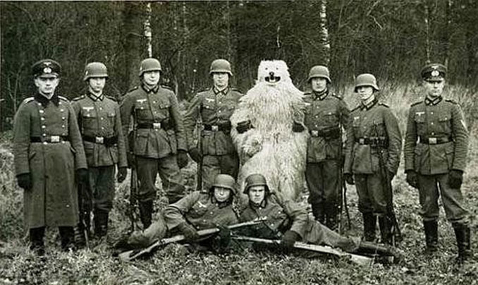 A photo of German soldiers posing with a stuffed bear - 10 Rare Photos From History