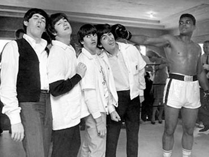 A photo of Muhammad Ali posing with The Beatles - 10 Rare Photos From History