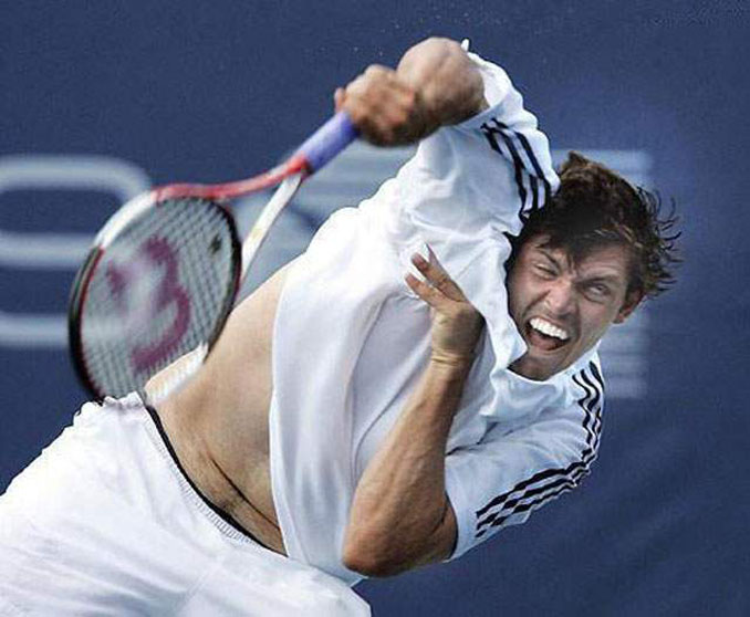 A photo of a tennis player derping out - 10 Amazing Photos Taken At Just The Right Time