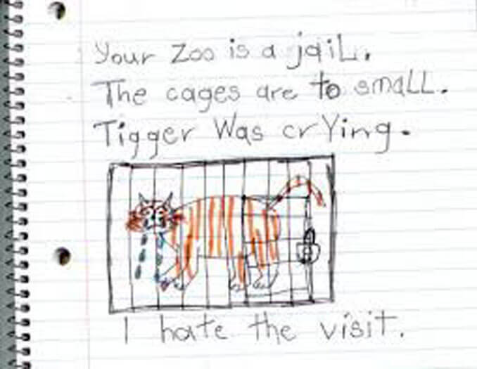 A child's drawing of a tiger in a cage - 22 Inappropriate Children's Drawings That Will Make You Laugh