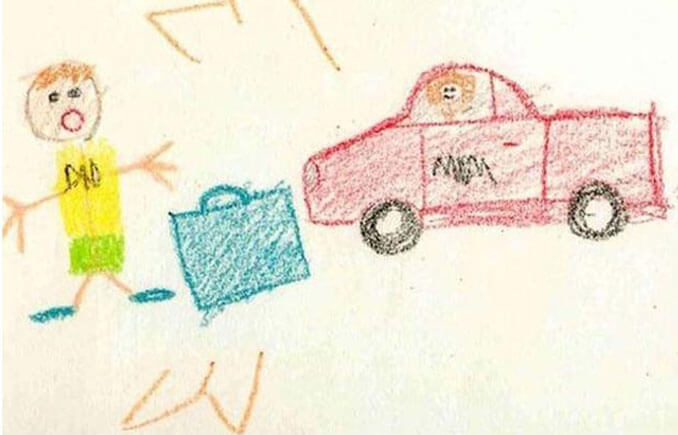 A child's drawing of mum driving away from dad - 22 Inappropriate Children's Drawings That Will Make You Laugh