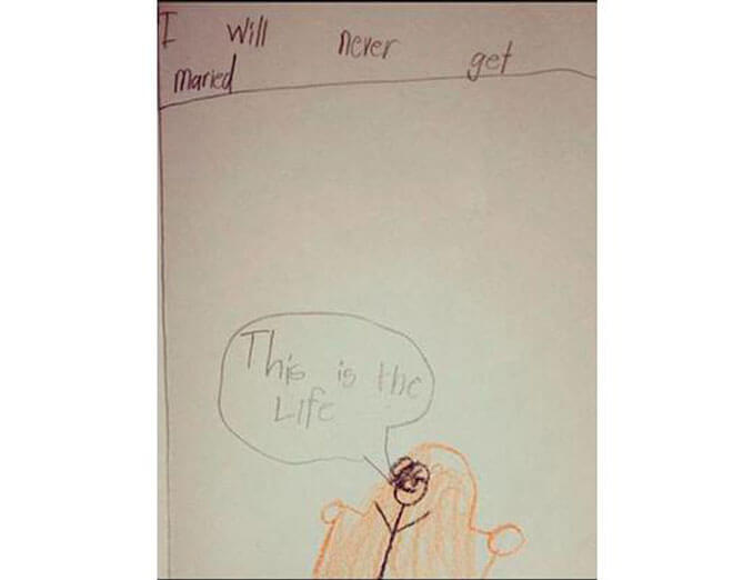 A child's drawing of single life - 22 Inappropriate Children's Drawings That Will Make You Laugh