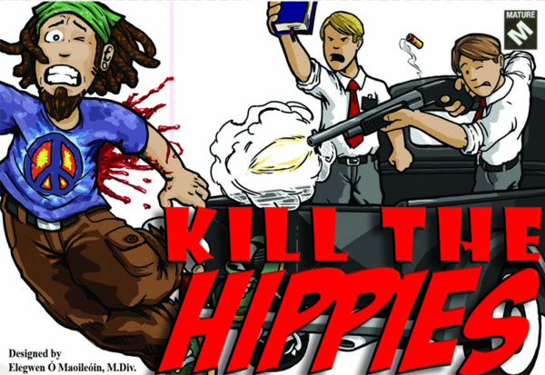 This weird board game is called Kill the Hippies