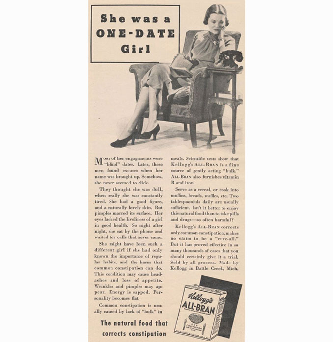 Vintage All-Bran advertisement - 10 Shocking Vintage Ads You Have To See To Believe