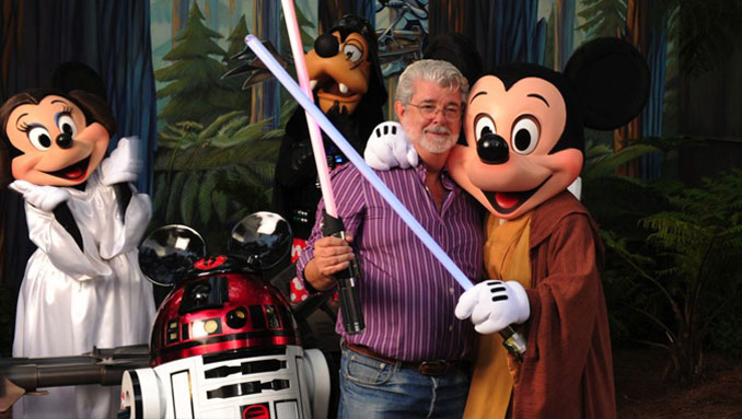 George Lucas with Mickey Mouse, Minnie Mouse, Goofy and R2D2 - 10 Worst Business Decisions Ever Made