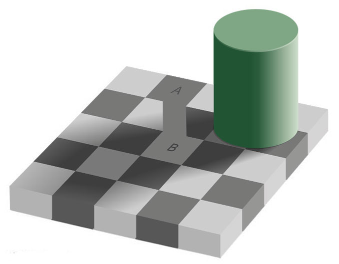 Checker shadow optical illusion solved.
