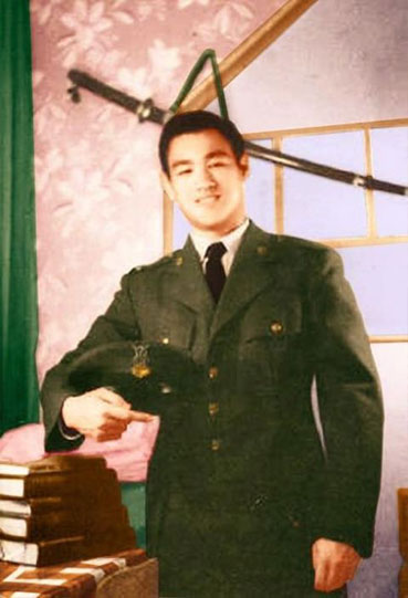Bruce Lee in military uniform.