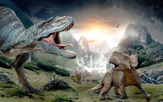 Dinosaurs fighting.