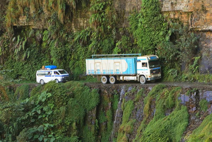 North Yungas Road in Bolivia.
