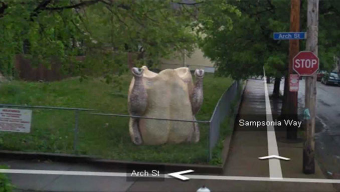 A giant chicken seen on Google Street View.