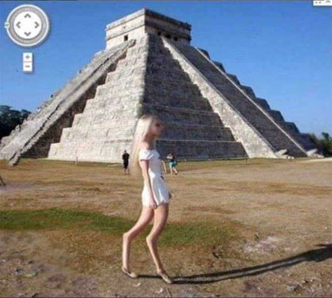 A girl with backwards legs at Chichen Itza seen on Google Maps.