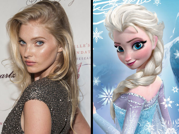 Elsa Hosk and Elsa from Frozen.