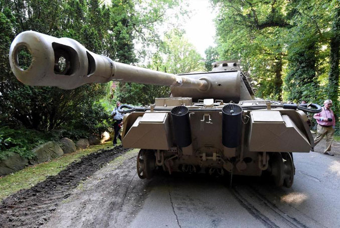 A Panzer tank discovered in the basement of a villa in Heikendorf, Germany.