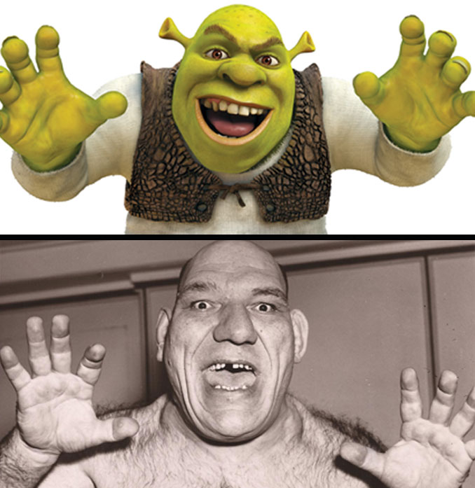 Shrek and Maurice Tillet.