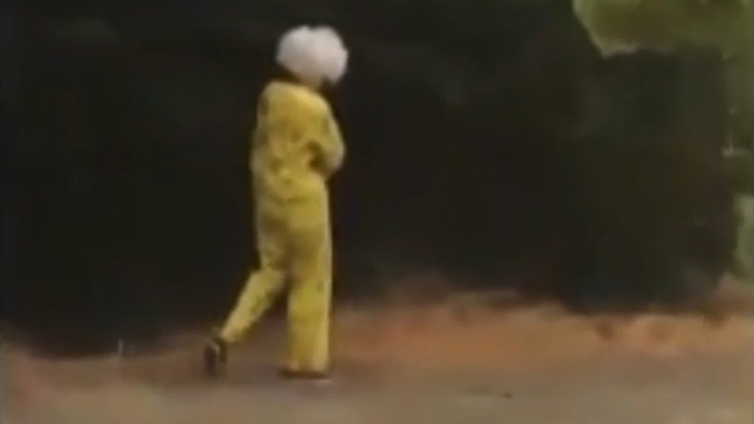 Clown filmed chasing a group of children with a horn.