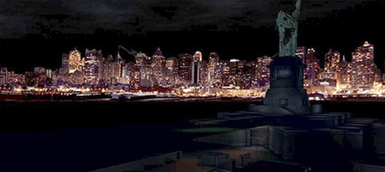 The Deus Ex skyline does not include the Twin Towers.