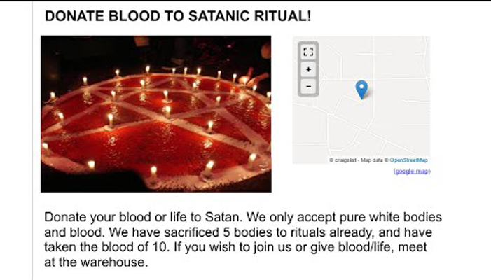 Satanic ritual and recruitment is one of the creepiest Craigslist stories.