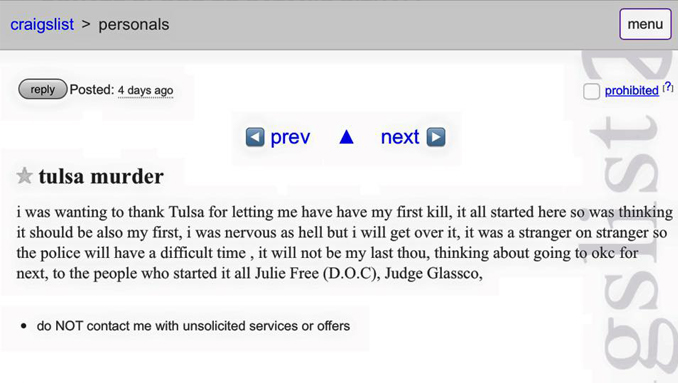 Tulsa Murder ad is one of the creepiest Craigslist stories.