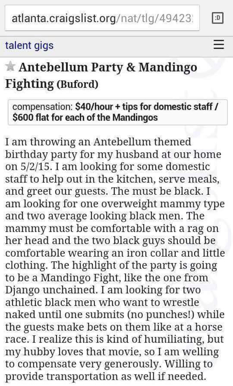 This ad asked for black men to wrestle in a Mandingo fight resulting in one of the creepiest Craigslist stories.