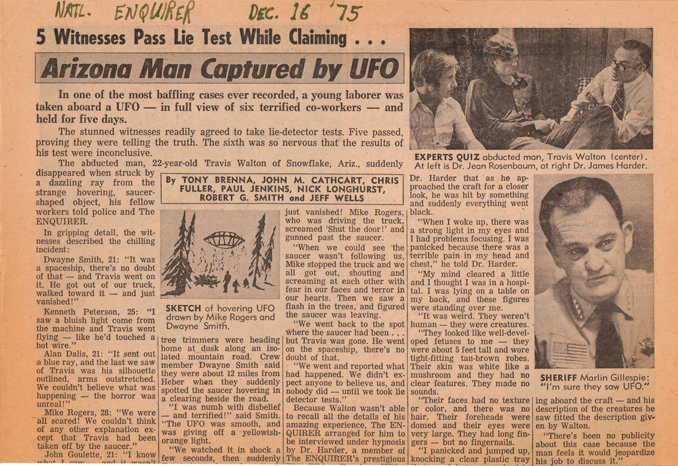 The Travis Walton case is one of the most Famous Alien Abduction Cases
